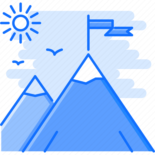 business, flag, job, mountain, office, success, work icon