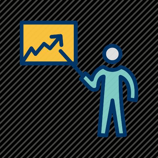 graph, lecture, presentation, statistics icon