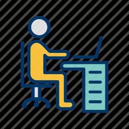 man, using laptop, working, workspace icon