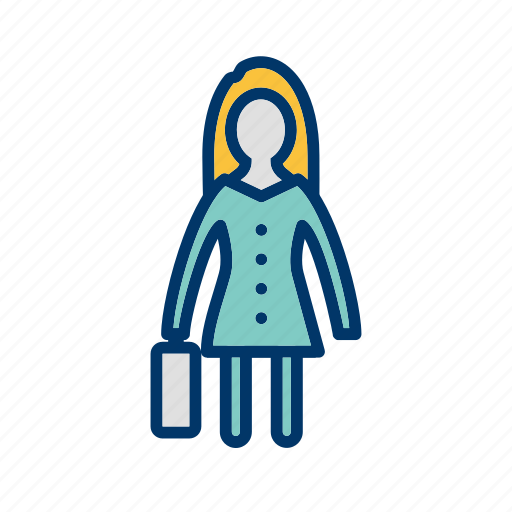 briefcise, female, portfolio, suitcase, woman with briefcase icon