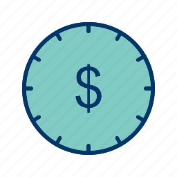 clock, money, time, time is money icon