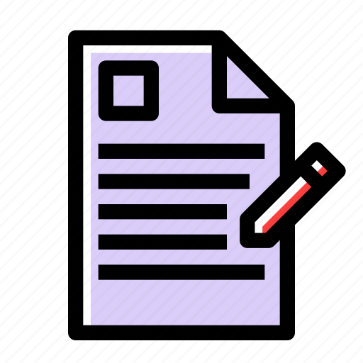 document, file, form, letter, paper, pencil, write icon