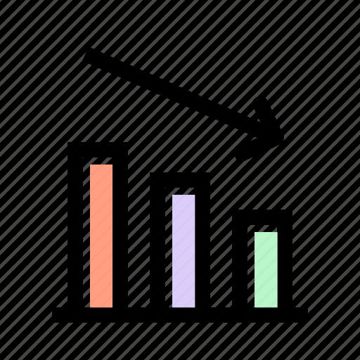 business, decrease, graph, loss, profit icon