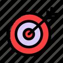 arrow, bullseye, focus, goal, marketing, success, target icon