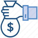 bag, business, business & finance, hand, investment, money icon