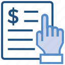 business, business & finance, document, dollar, hand, paper icon