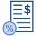 business, business & finance, document, dollar, paper, percentage icon