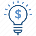 bulb, business, business & finance, creative, dollar sign, idea