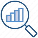 business, business & finance, graph, magnifier, strategy, transaction icon