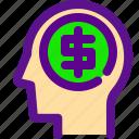 banking, brain, economy, money icon