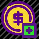 add, banking, coin, economy, money icon