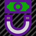 banking, economy, magnet, money icon