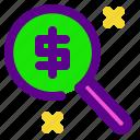 banking, economy, magnify, money icon