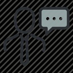 businessman, chat, comment, communication, message, speech, talk icon