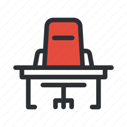 chair, desk, job, office, table, workspace icon
