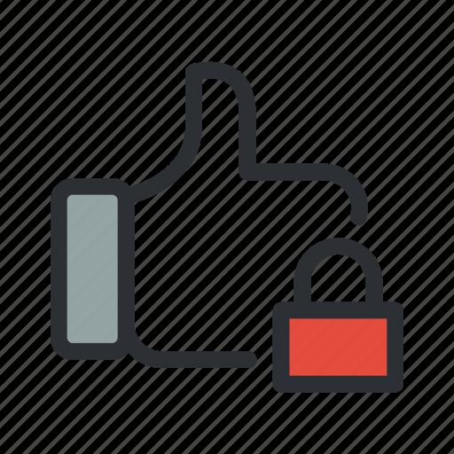 feedback, like, lock, locked, safe, thumb icon