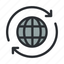 connection, globe, internet, network, reconnect, refresh, web icon