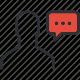 comment, communication, conversation, interview, message, monologue, speech icon