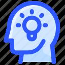 bulb, head, idea, light, thinking icon