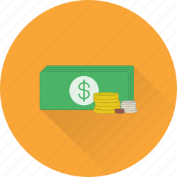 cash, coins, currency, dollars, finance, funding, money icon