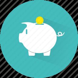 bank, coins, funding, money, piggy, piggy bank, savings icon