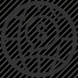 business, finance, global, globe icon