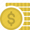 cash, coins, dollars, finance, money, payment icon