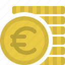 cash, coins, currency, euros, finance, money, payment icon