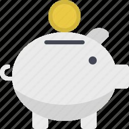 coins, deposit, guardar, investment, piggy, piggy bank, save, savings icon