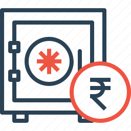 deposit, indian, money, rupee, safe, secure, vault icon