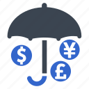 investment insurance, money, protection, safety, umbrella icon