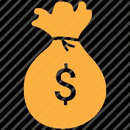 dollar, dollar bag, finance, investment, money bag icon