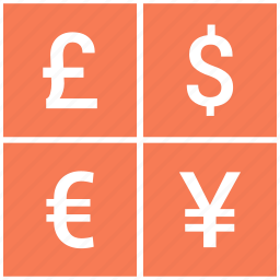 currency, dollar, euro, exchange, financial, pound icon