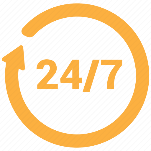 24/7, assistance, customer support, shopping icon