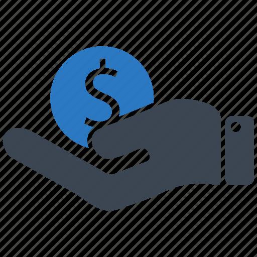 dollar, finance, hand, money, payment, shop icon
