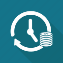 arrow, clock, coin, dollar, history, money icon