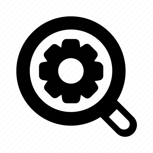 cog, magnifier, optimization, search optimization, search settings icon icon