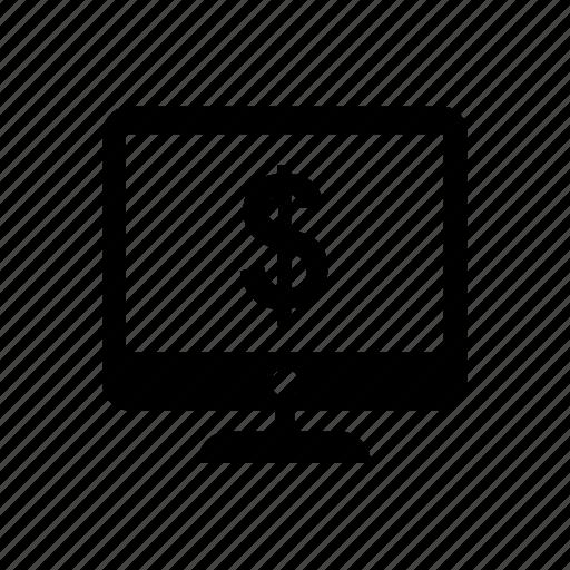 desktop, discount, dollar, lcd, money, offer, sale icon icon