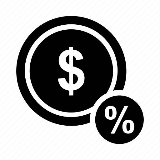 dollar, hundred, interest, one, percent, percentage icon icon