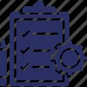 checklist, clipboard, cog, customer processing, order