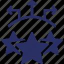 direction, favorite, pointer, stars icon