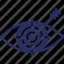 eye, intention, observation, observe, target icon