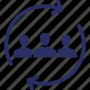 personnel, process, progress, staff, staff rotation icon