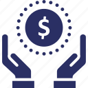 investments, dollar, economy, hand, payment icon