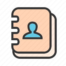 address, book, contact, data, directory, email, notebook icon