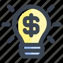 bulb, business, business idea, finance, idea, lamp, light bulb icon