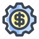 business, business management, finance, financial, gear, management, system icon