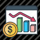 bar, chart, currency, decrease, dollar, finance, graph