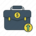 bag, briefcase, business, currency, dollar, finance, increase icon
