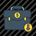 bag, briefcase, business, currency, decrease, dollar, finance